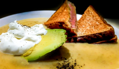 Avocado Soup And Grilled Cheese